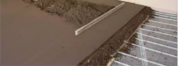 Underfloor concrete water heating